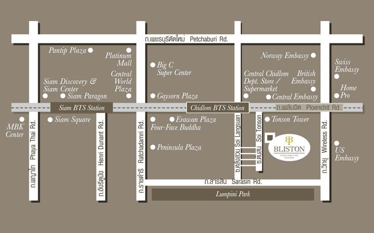 Bliston Bangkok Serviced Apartment - Us embassy bangkok map